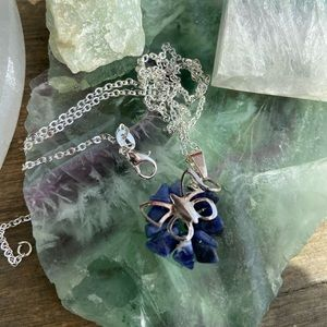 SODALITE STERLING SILVER DAINTY PENDANT NECKLACE